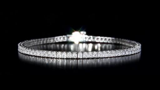 14 55 Ctw Princess Cut Vs1 Vs2 Clarity H I Color Diamond 18kt White Gold Bracelet Video Gallery