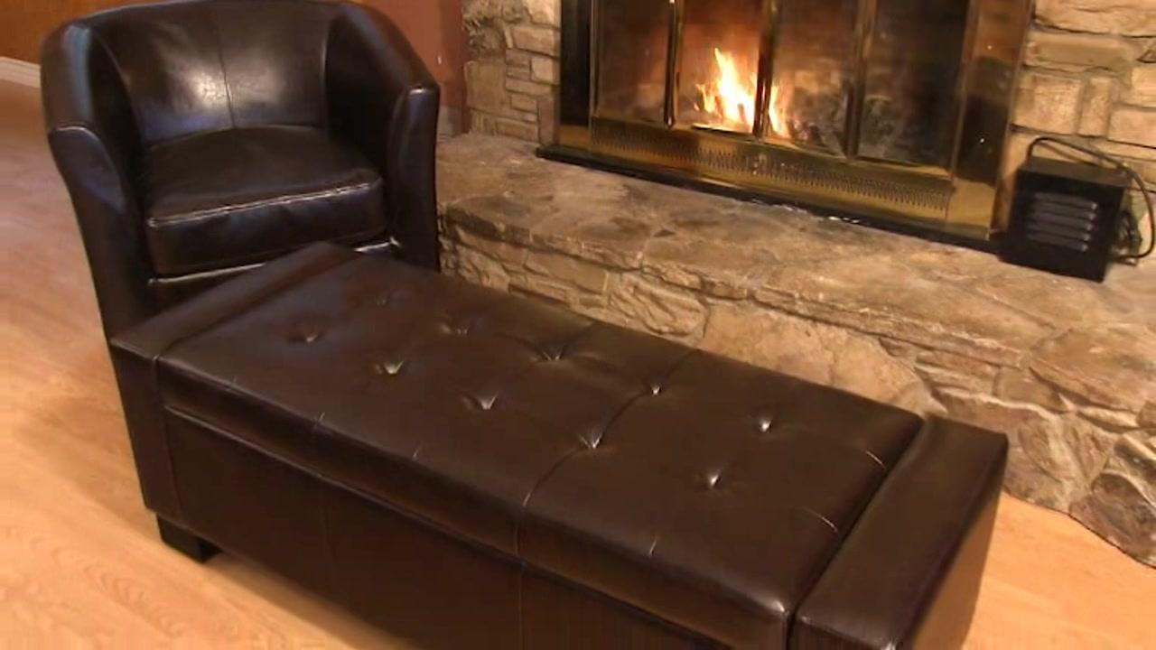 & Ravello Bonded Leather Storage Ottoman - Video Gallery