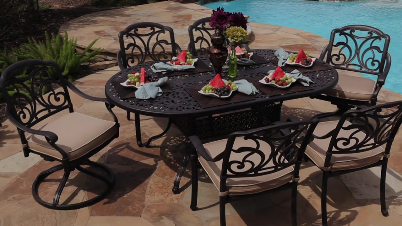 San Paulo 7 Piece Patio Dining Set U0026raquo; Foremost   Veranda Classics    Lawn   Video Gallery
