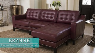 Prime Brynne Top Grain Leather Reversible Chaise Sectional Gmtry Best Dining Table And Chair Ideas Images Gmtryco