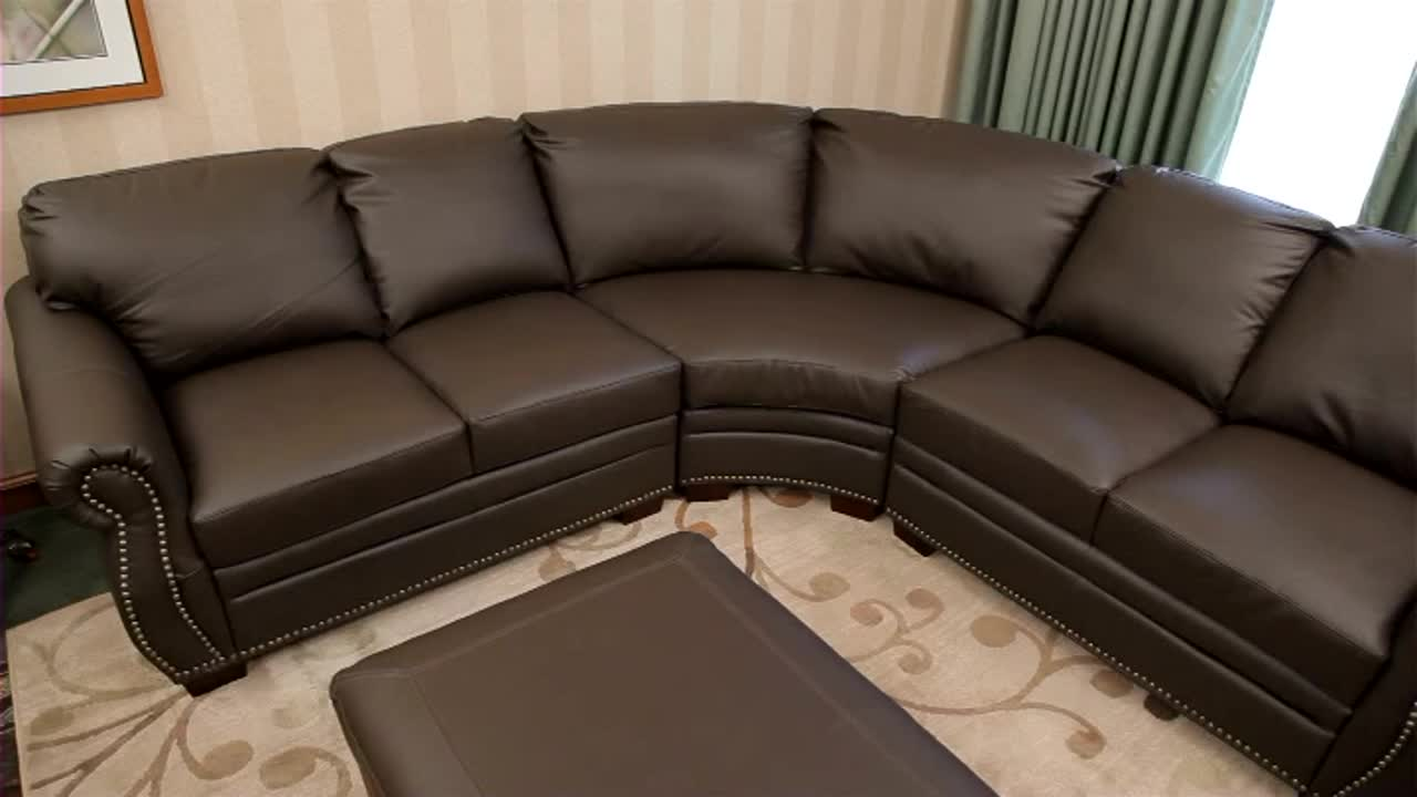 532530 Beverly Leather Sectional U0026raquo; Abbyson   Furniture   Video Gallery