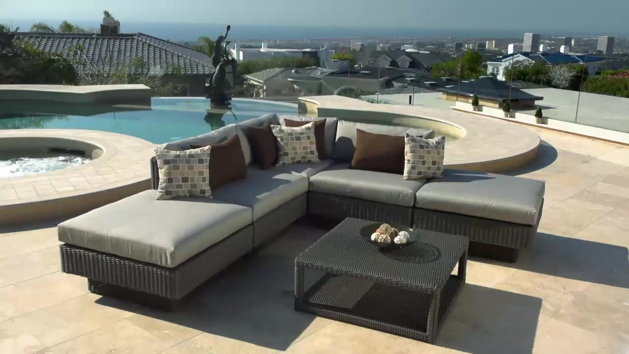 Portofino Signature 6 Piece Modular Deep Seating Collection In Weathered Gray Raquo Patio Furniture Video Gallery